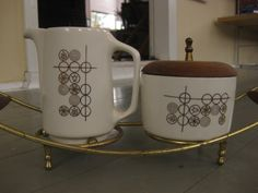 Vintage Cream and Sugar Set with Tray for Mid Century Kitchen