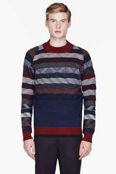 WHITE MOUNTAINEERING Navy KNIT DEFORMED HERRINGBONE PATTERNed sweater
