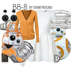 BB-8 by leslieakay on Polyvore featuring Kim Kwang, Akribos XXIV, Palm Beach Jewelry, Kenneth Cole, Alexander McQueen, disney, disneybound, starwars and disneycharacter