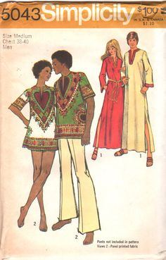 Simplicity 5043 1970s MENS Caftan African Dashiki Shirt Pullover Top adult vintage sewing pattern by mbchills