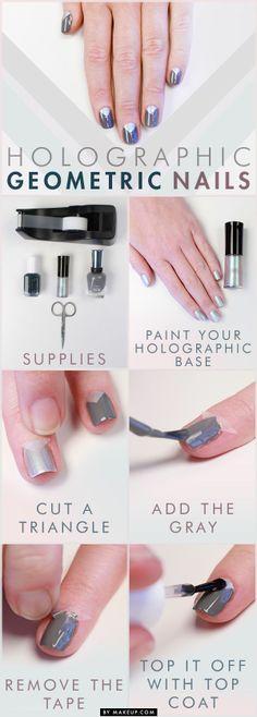 Nail tutorial: Holographic and Gray Manicure #nails #nailart