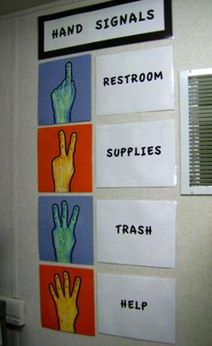 Hand Signal - Classroom Management. I really like this management style! Great way to stop classroom interruptions.