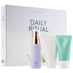 Daily Ritual Kit for Sensitive Skin - KORA Organics | Sephora Diy Face Scrub, Face Scrub Homemade, Skin Care Regimen, Skin Care Tips, Dry Skin On Face, Oily Skin, Beauty Tips For Face, Beauty Secrets, Sensitive Skin Care