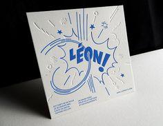 Print : Badcass - Design : Clément Charbonnier - Faire-part de naissance en letterpress - #débossagepur #pantone