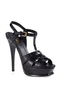 Can Santa bring these Saint Laurent 'Tribute' Croc Embossed Leather Platform Sandals please?