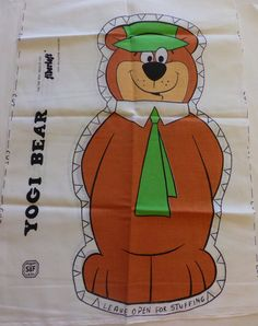 Vintage Yogi Bear Fabric Panel Cut N Sew by OldCrowsTreasures247