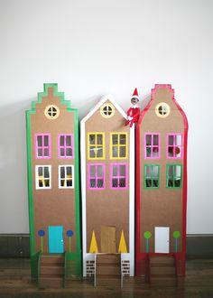 Elf on the shelf duct tape cardboard brownstone mermag style housing via seejaneblog
