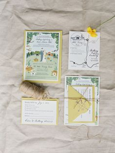 yellow invitations for a backyard wedding // photo by Tara Francis // http://ruffledblog.com/handcrafted-oregon-wedding