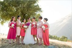 bridesmaids+dresses+short+or+long+together | Weddbook / Others / Pink Wedding / Pink Bridesmaids' Dresses