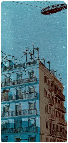 Print from original drawing blue sky over blue house by PrintParty, $16.00