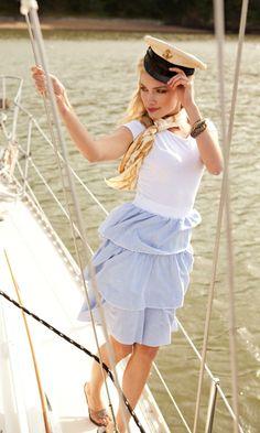 Seven Seas White Shirt with SeerSucker Three Tiered Skirt