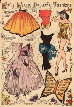 A few fantasy themed Katy Keene paper dolls from various years. I love the colors on some of the outfits and the butterfly motif...