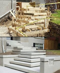The video consists of 23 Christmas craft ideas. Outdoor Steps, Patio Steps, Entrance Design, House Entrance, Backyard Garden Design, Yard Design, Landscape Stairs, Landscape Design, Modern Landscaping