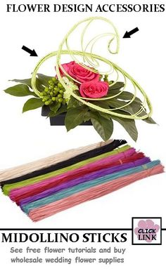 Swirled Midollino Centerpiece is simple, requires minimum flowers and is easy to make.  Click photo for complete product list.   Midollino comes in 1 lb bundles in 8 colors for $19.99,  Approximately 200 sticks per bundle