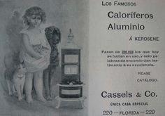 Pura ternura... para publicitar los novedosos calefactores a kerosene que llegaron a principios del siglo XX.