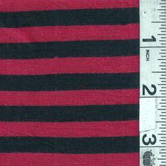*3/4 YD PC--Black/Red Stripe Jersey Knit