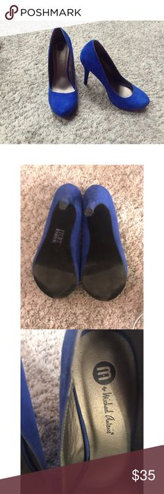 "Make an offer✨ Royal Blue Platform Heels Blue Heels with about a 4"" Heel. In excellent condition! Brand is M by Michael Antonio. First photo are shoes in natural lighting, others are taken later in the day used with overhead light. Flaws are as follows: light signs of wear on bottom of shoe (to be expected), light blackish mark on side of one shoe (shown in photo 4) blends in with suede pretty well though, and some light marks on the front of the right heel. Scuffed at the bottom of Heel…"