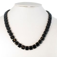 Vintage 1950s Black Square Glass Beaded Necklace by KensieKitsch