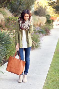 army jacket, neutral tunic, skinny jeans, patterned scarf, ankle boots 11.2.12b by kendilea, via Flickr