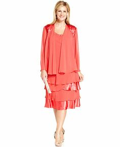 SL Fashions Plus Size Sleeveless Beaded Tiered Dress and Jacket - Plus Size Dresses - Plus Sizes - Macy's