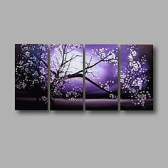 Pintada a mano Abstracto / Floral/BotánicoModern Cuatro Paneles Lienzos Pintura al óleo pintada a colgar For Decoración hogareña 4691953 2017 – $193.461