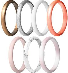 ThunderFit Women's Thin and Stackable Silicone Rings Wedding Bands - 7 Rings / 4 Rings / 1 Ring - 2.5mm Width - 1.8mm Thick