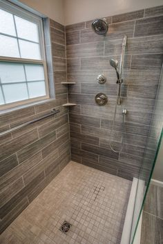 Remodel Bathroom Shower shower remodel: natural look with mosaic flat rock pebbles and