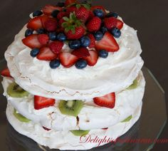 Meringue Cake with Berries - Delights Of Culinaria