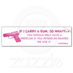 Pink #tcotgirls Gun Bumper Sticker