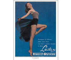 """Poster Lastex Pirelli girdles from the book """"è l'ora della spesa"""" on 1950's Italian advertisement"""
