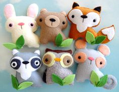 Felt Woodland Animal Set Sewing Pattern  by preciouspatterns