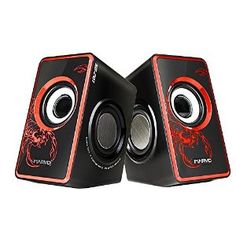 - USB powered, wired speaker with 3.5mm plug - Total RMS Power: 7W (3.5 per speaker)with subwoofer - Volume control with On/Standby; - Frequency response: 120Hz - 20KHz | Signal-to-noise ratio: > 80dB