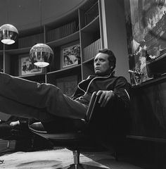 Patrick McGoohan taking a break during the filming of The Prisoner episode 'The Chimes of Big Ben'.