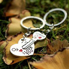 LNRRABC 1 짝 커플 좋아요 편지 키 체인 심장 키 링 실버 컬러 애호가 키 체인 발렌타인 데이 선물
