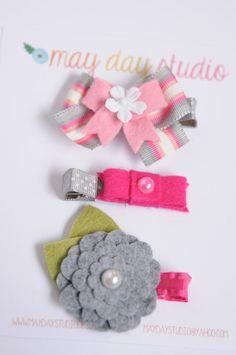 toddler baby girls alligator hair clip set - pink/grey collection, grey felt flower, pink stripe boutique bow on ribbon alligator hair clips