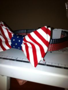 Independence Day Bow Tie Dog Collar $25.00