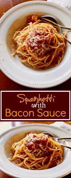 Simple and rustic Spaghetti with Bacon Sauce