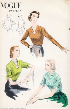 1950s Blouse Pattern Vogue 7493 Two Styles Unique Notched Keyhole Neckline Version Bust 36 Vintage Sewing Pattern