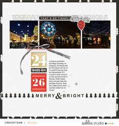 Merry and Bright digital scrapbooking page using Oh What Fun - Digital Printable Scrapbooking Kit by Sahlin Studio