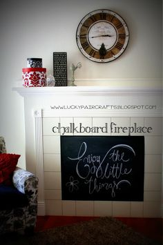 Lucky Pair Crafts: Chalkboard Fireplace-- baby proofing at its finest!