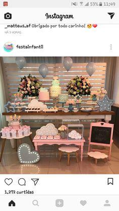 Ideas Aniversario, Birthday Decorations, Table Decorations, Mesas Para Baby Shower, Desert Table, Festa Party, Candy Table, Baby Party, Shower Party