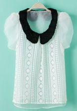 White Puff Sleeve Embroidery Chiffon Blouse