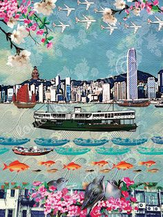 A fantastic Hong Kong montage from Louise Hill.Her designs are created from a mixture of her own photographs illustrations and patterns, vintage imagery and textiles. A very special souvenir of Hong Kong Steven Universe, Artwork Prints, Canvas Prints, Painting Prints, Paintings, Hong Kong Art, Chinese Flowers, Hongkong, Cathay Pacific