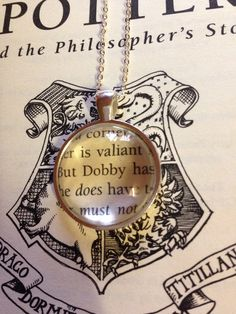 Harry Potter Dobby Book Page Necklace by EnchantingGlass on Etsy