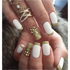 45 Gold Nails You Wish to Try ❤ liked on Polyvore featuring beauty products, nail care, nail treatments and nails