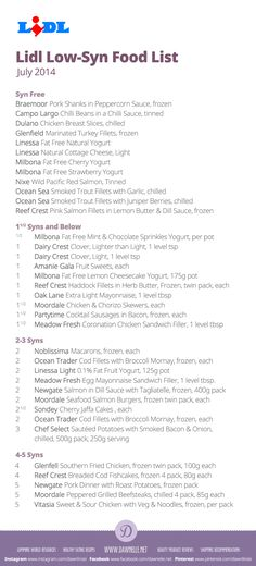 #Lidl Low-Syn Shopping List on the #SlimmingWorld #ExtraEasy plan - July 2014