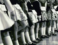 Vintage photo of Irish dancers lined up for a feis