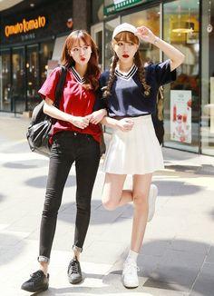 Seoul Fashion - Striped V-Neck T-Shirt US$10.46 (80% OFF)
