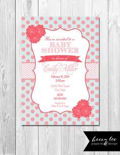 Baby Shower Shower Invitation - Polka Dots & Flowers - Pink - DIY - Printable