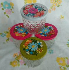 Set of 4 Ball Quilted Crystal jelly jars with by GoldenDayVintage